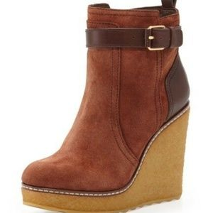 Tory Burch Wedge Shearling Lined Remy Ankle Bootie